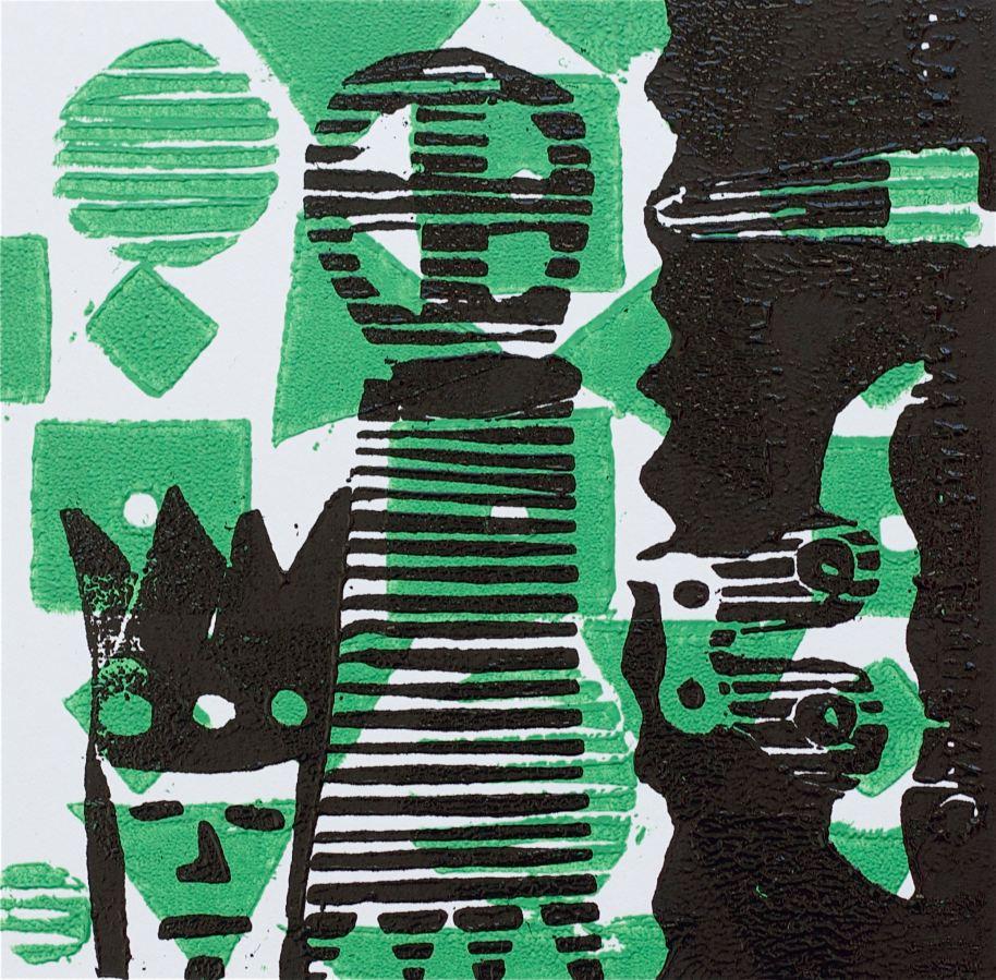 1 Kalevipoeg - 10 - Kuningaks Saamine : Künd (T.Laamann, 2013, woodcutprint, 10x10cm)