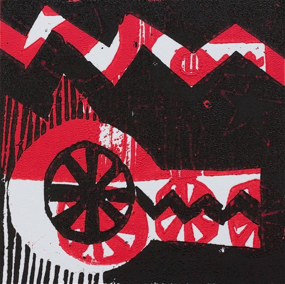 1 Kalevipoeg - 11,2 - Kättemaks Huntidele (T.Laamann, 2013, woodcutprint, 10x10cm)