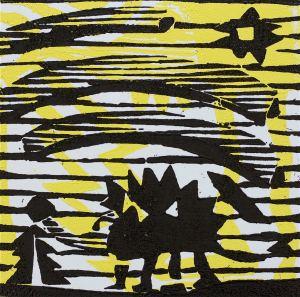 1 Kalevipoeg - 13 - Laua Toomine (T.Laamann, 2013, woodcutprint, 10x10cm)