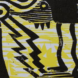 1 Kalevipoeg - 13,2 - Laua Toomine (T.Laamann, 2013, woodcutprint, 10x10cm)