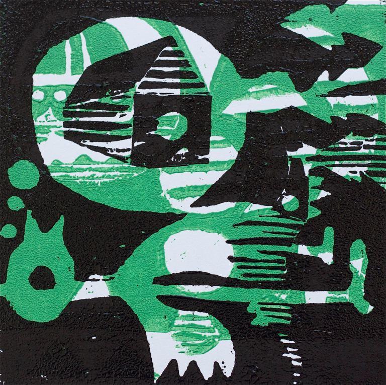 1 Kalevipoeg - 14 - Pikk Magamine ja Unenägu (T.Laamann, 2013, woodcutprint, 10x10cm)