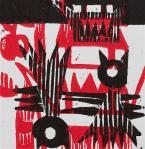1 Kalevipoeg - 15 - Põrgupiigad (T.Laamann, 2013, woodcutprint, 10x10cm)