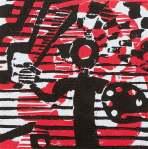 1 Kalevipoeg - 19 - Assamalla Lahing (T.Laamann, 2013, woodcutprint, 10x10cm)