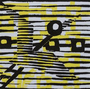 1 Kalevipoeg - 21 - Õnneaeg : Aheldamine (T.Laamann, 2013, woodcutprint, 10x10cm)