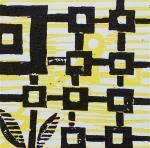 1 Kalevipoeg - 21,2 - Õnneaeg : Aheldamine (T.Laamann, 2013, woodcutprint, 10x10cm)