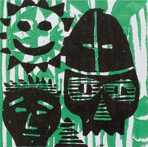 1 Kalevipoeg - 22 - Kalevipoja Surm, Põrgu Väravas (T.Laamann, 2013, woodcutprint, 10x10cm)