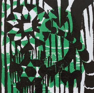 1 Kalevipoeg - 22,2 - Kalevipoja Surm, Põrgu Väravas (T.Laamann, 2013, woodcutprint, 10x10cm)