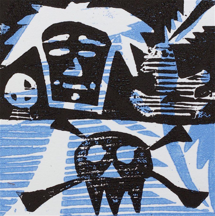 1 Kalevipoeg - 4 - Kalevi Surm (T.Laamann, 2013, woodcutprint, 10x10cm)