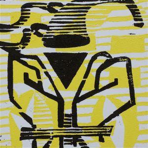 1 Kalevipoeg - 5 - Linda Röövimine ja Jaht (T.Laamann, 2013, woodcutprint, 10x10cm)