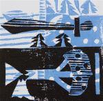 1 Kalevipoeg - 8 - Tamme Raiumine Mõõgaga (T.Laamann, 2013, woodcutprint, 10x10cm)