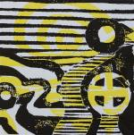 1 Kalevipoeg - 9 - Varjude Laul (T.Laamann, 2013, woodcutprint, 10x10cm)