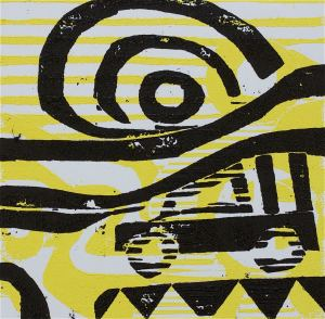 1 Kalevipoeg - 9,2 - Varjude Laul (T.Laamann, 2013, woodcutprint, 10x10cm)