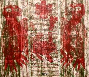 Jnana Yoga II (T.Laamann, 1992, woodcutprint, 43x53cm)