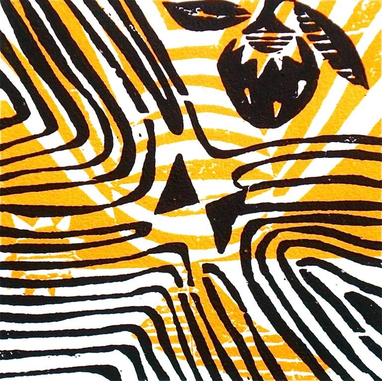 Maa (2012, woodcutprint, 10x10cm), Tarrvi Laamann