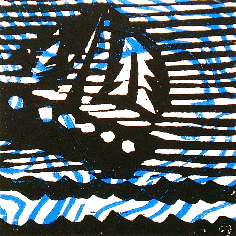 Vision (2012, woodcutprint, 10x10cm), Tarrvi Laamann