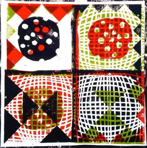 Muster 3 (woodcutprint, 2012, 43x43cm), Tarrvi Laamann
