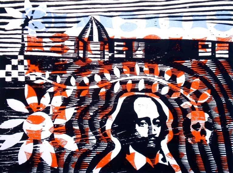 Shakespeare @ Treasure Beach (2012, woodcutprint, 40x50cm)