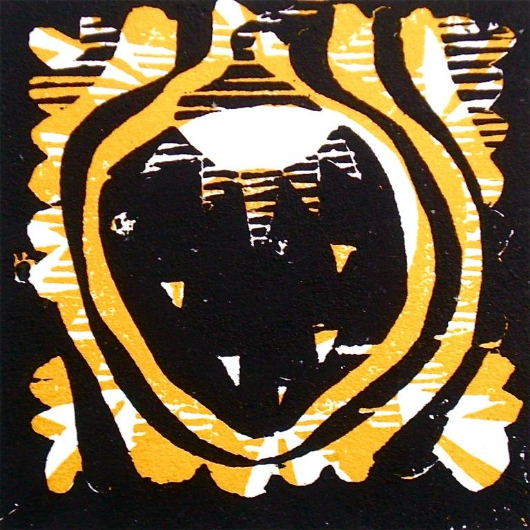 Taim (2012, woodcutprint, 10x10cm), Tarrvi Laamann