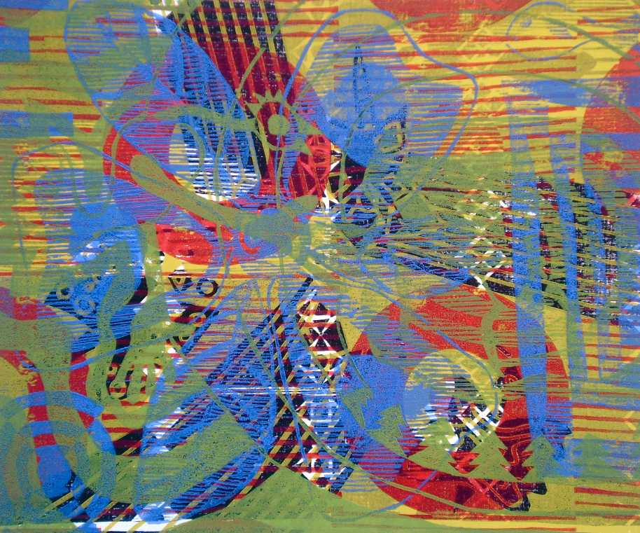 """Abstract Akee-n-Saltfish"" (T.Laamann, 2013, woodcutprint, 40x50cm)"