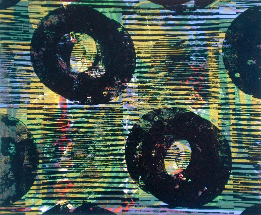 """""""Abstract Jamaican Colors"""" (T.Laamann, 2013, woodcutprint, 40x50cm)"""