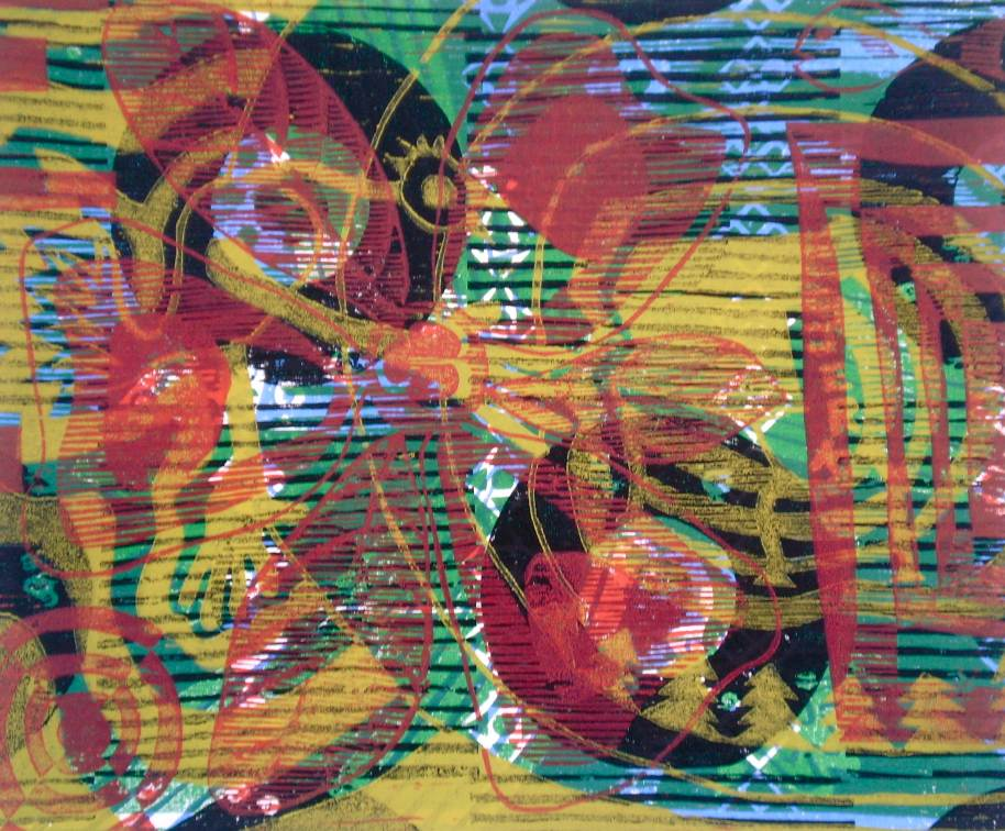 """""""Abstract Jerk Chicken"""" (T.Laamann, 2013, woodcutprint, 40x50cm)"""