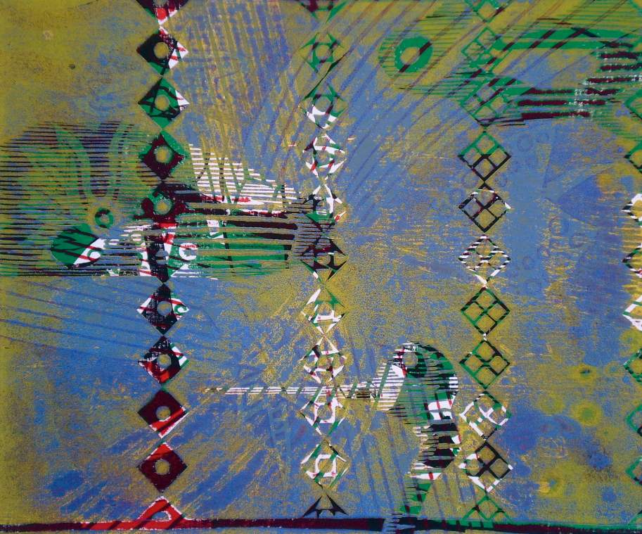 """Abstract Under Sea"" (T.Laamann, 2013, woodcutprint, 40x50cm)"