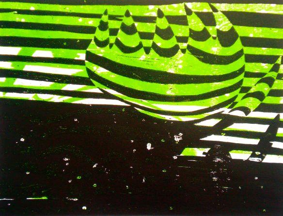 """Puulõike Sünd"" (2013, woodcutprint, 40x50cm), Tarrvi Laamann"