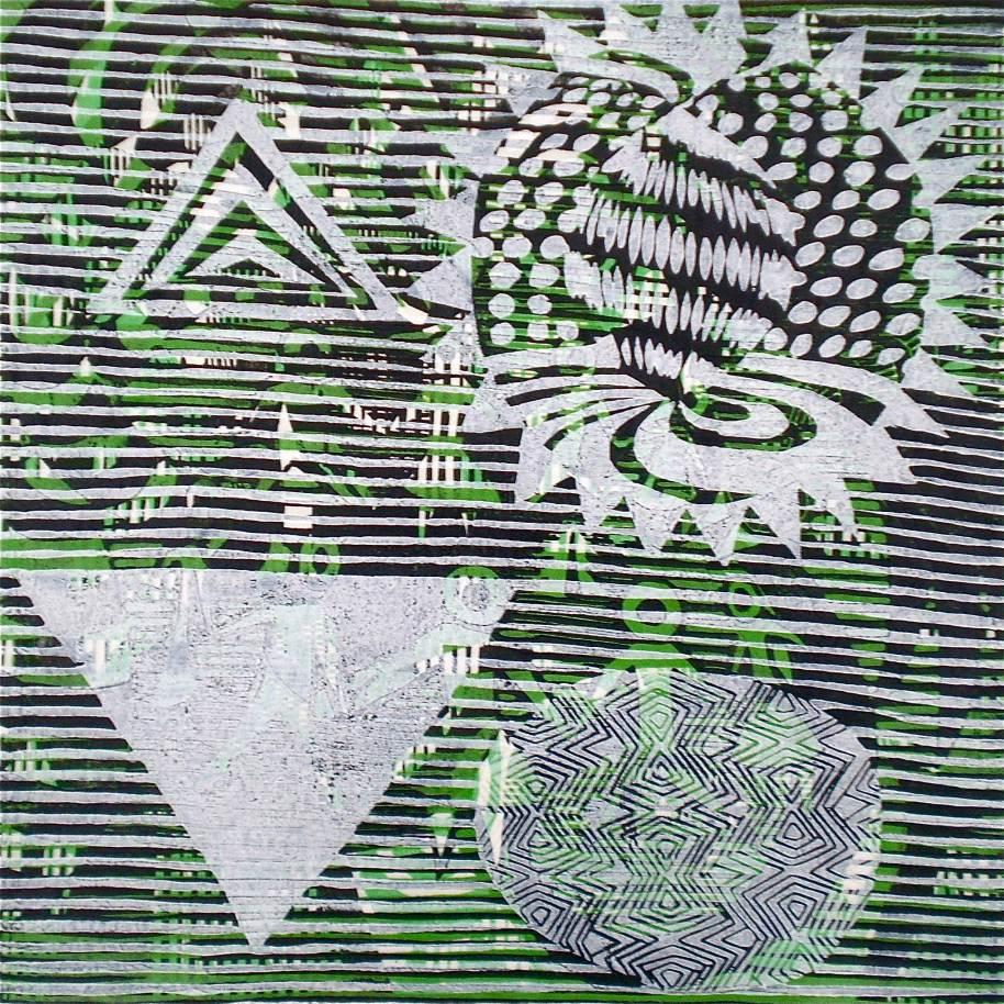 4D Green Start (Tarrvi Laamann, 2013, mokuhanga rmx, 40x40cm)