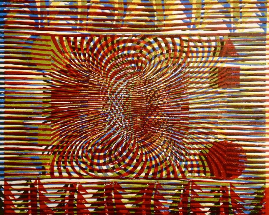 """Abstract TV"" (Tarrvi Laamann, 2013, woodcutprint, 40x50cm)"