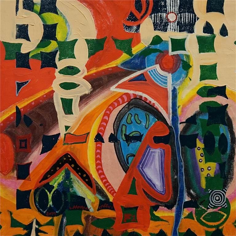 F1 (Tarrvi Laamann, 2014, woodcutprint, oil, canvas, 44x44cm)