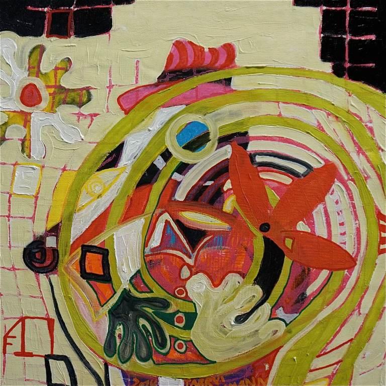 F10 (Tarrvi Laamann, 2014, woodcutprint, oil, canvas, 44x44cm)