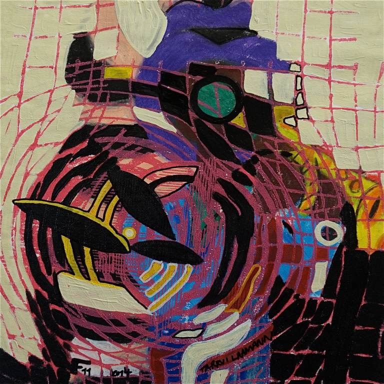 F11 (Tarrvi Laamann, 2014, woodcutprint, oil, canvas, 44x44cm)