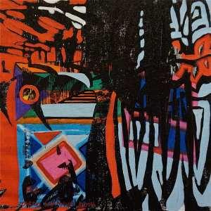 F12 (Tarrvi Laamann, 2014, woodcutprint, oil, canvas, 44x44cm)