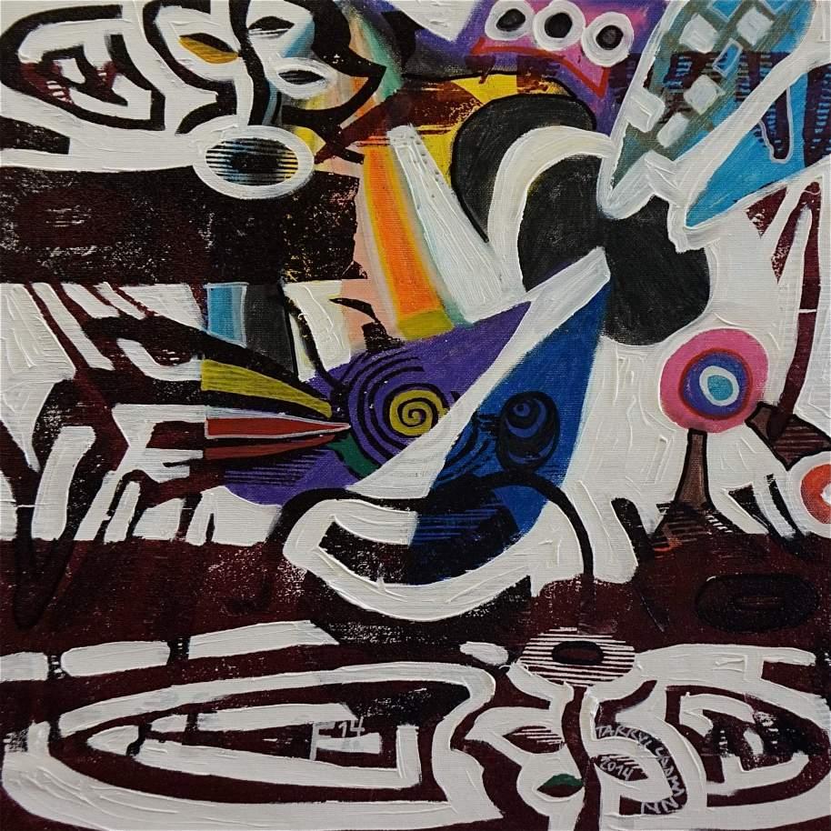 F14 (Tarrvi Laamann, 2014, woodcutprint, oil, canvas, 44x44cm)