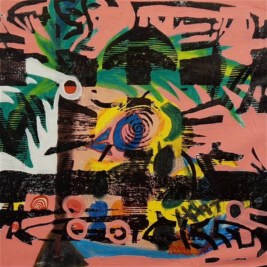F2 (Tarrvi Laamann, 2014, woodcutprint, oil, canvas, 44x44cm)
