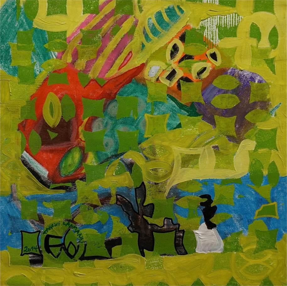 F6 (Tarrvi Laamann, 2014, woodcutprint, oil, canvas, 44x44cm)