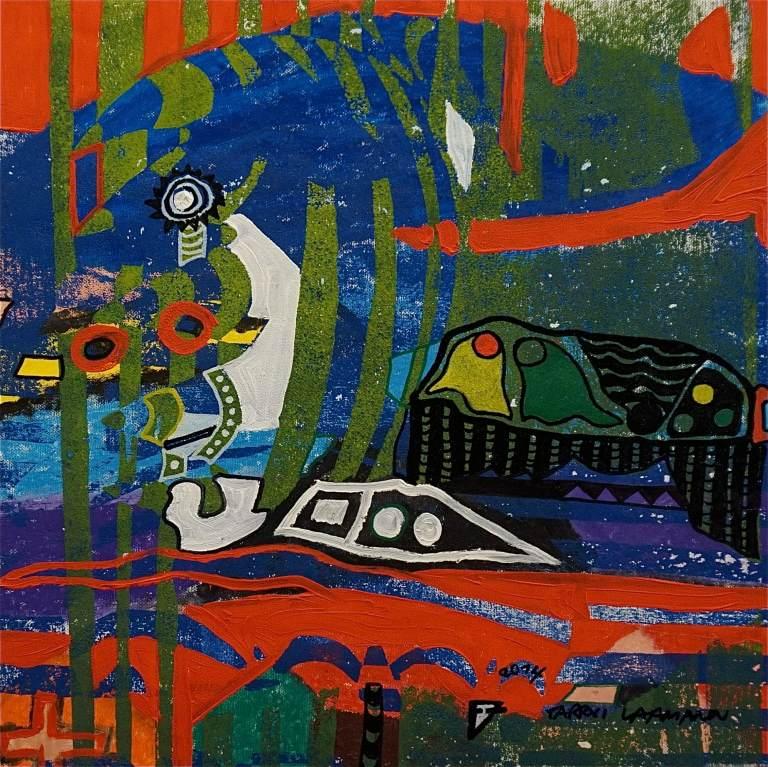 F7 (Tarrvi Laamann, 2014, woodcutprint, oil, canvas, 44x44cm)