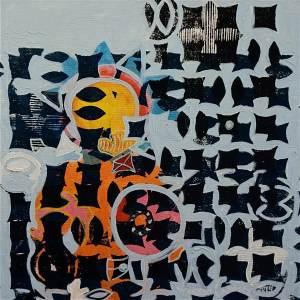 F9 (Tarrvi Laamann, 2014, woodcutprint, oil, canvas, 44x44cm)