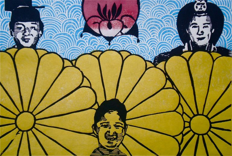 Japan Empera and Family (Tarrvi Laamann, 2013, mokuhanga, 23x36cm)