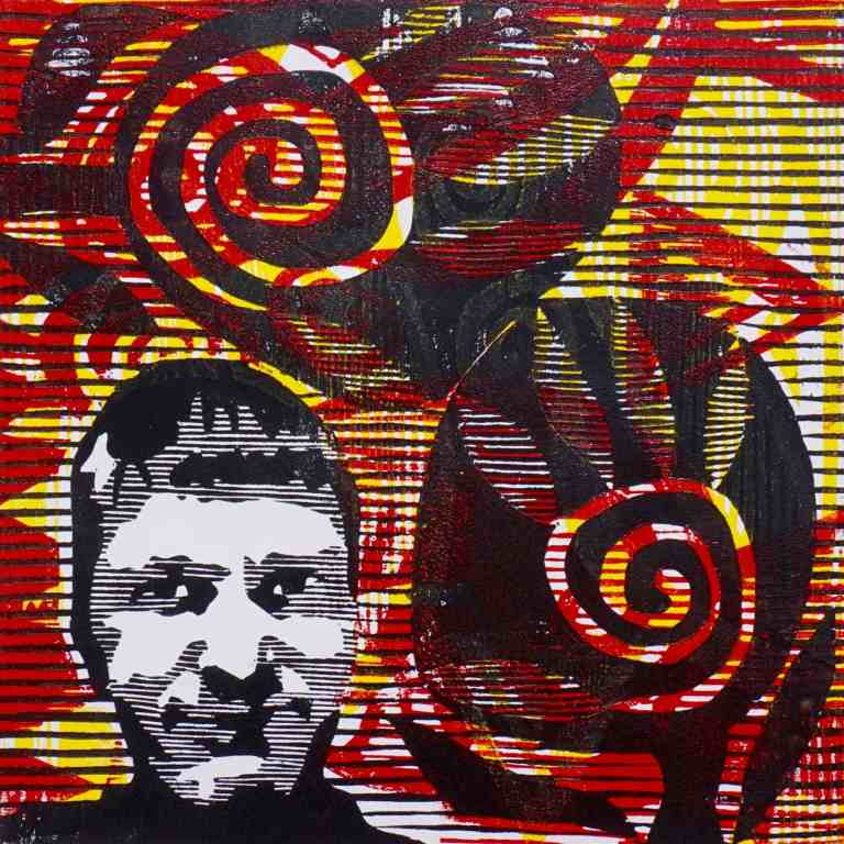 Kuninglik (T.Laamann, 2015, woodcut, 40x40cm)