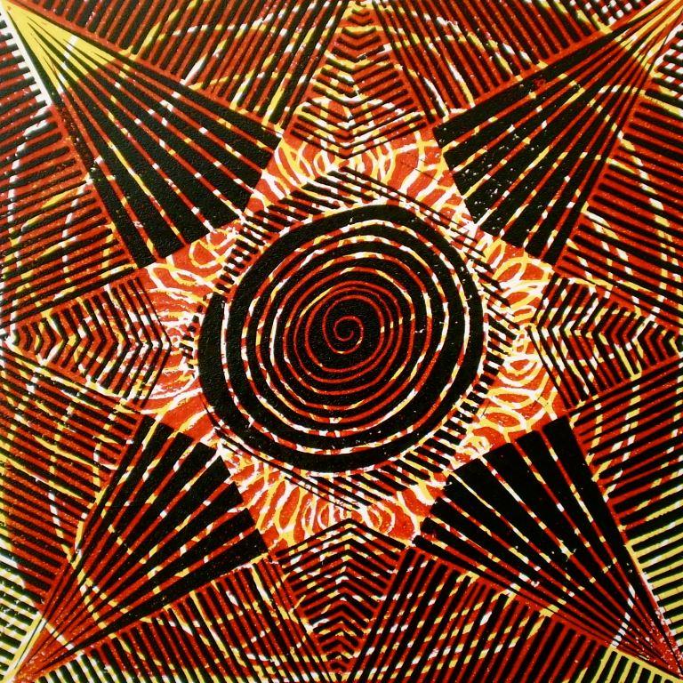 Reddish Sun-n-Sombrero (Tarrvi Laamann, 2013, linocutprint, 30x30cm)