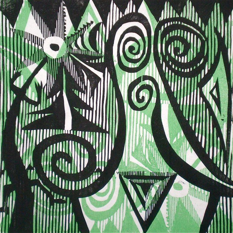 Spirals (Tarrvi Laamann, 2013, mokuhanga, 40x40cm)