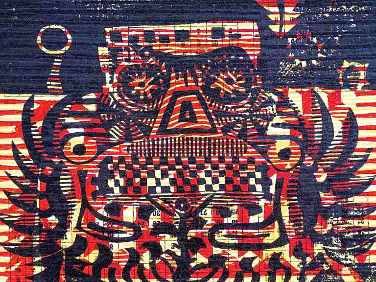 Sugar Bus (2015, Tarrvi Laamann, woodcut, 19x25cm)