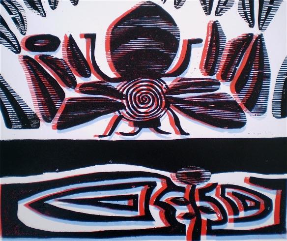 """3D Honeybee"" (Tarrvi Laamann 2013, woodcutprint, 40x50cm)"