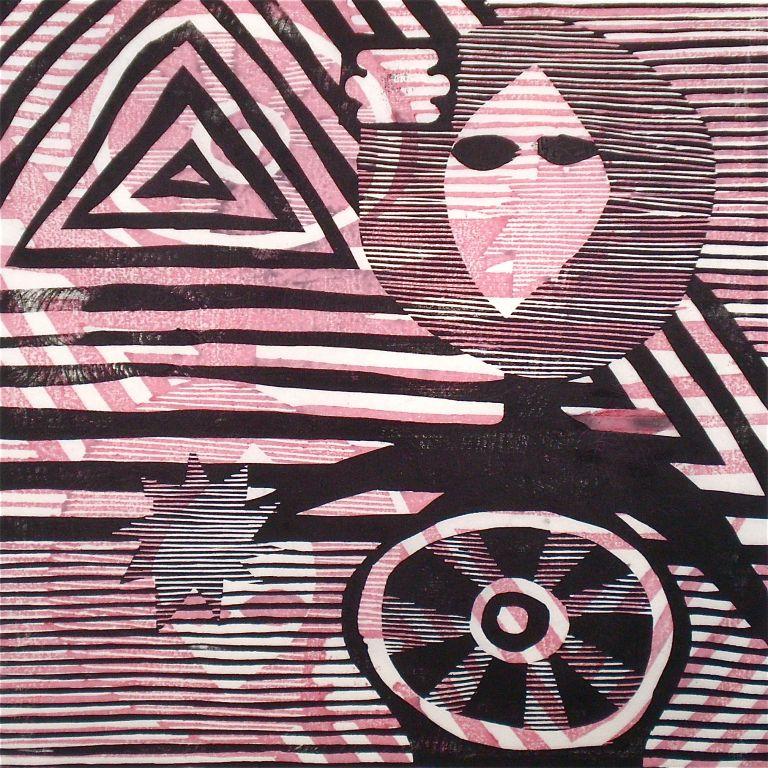 I Come In Peace (Tarrvi Laamann, 2013, mokuhanga, 40x40cm)