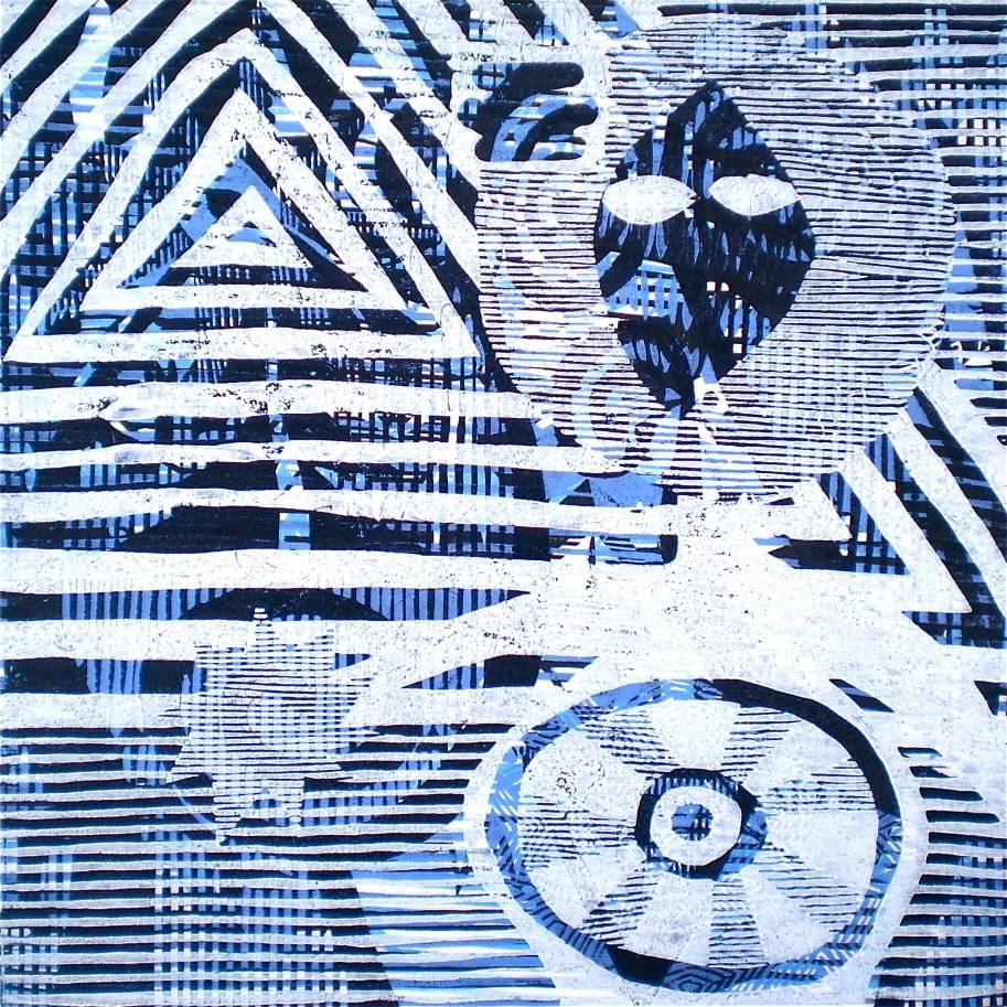 I Come In Turquoise Peace (Tarrvi Laamann, 2013, mokuhanga rmx, 40x40cm)