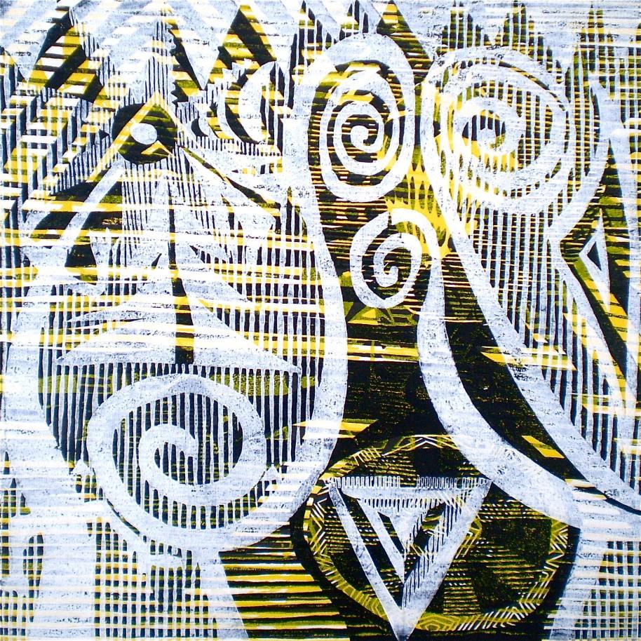 Spirals On Gold (Tarrvi Laamann, 2013, mokuhanga rmx, 40x40cm)