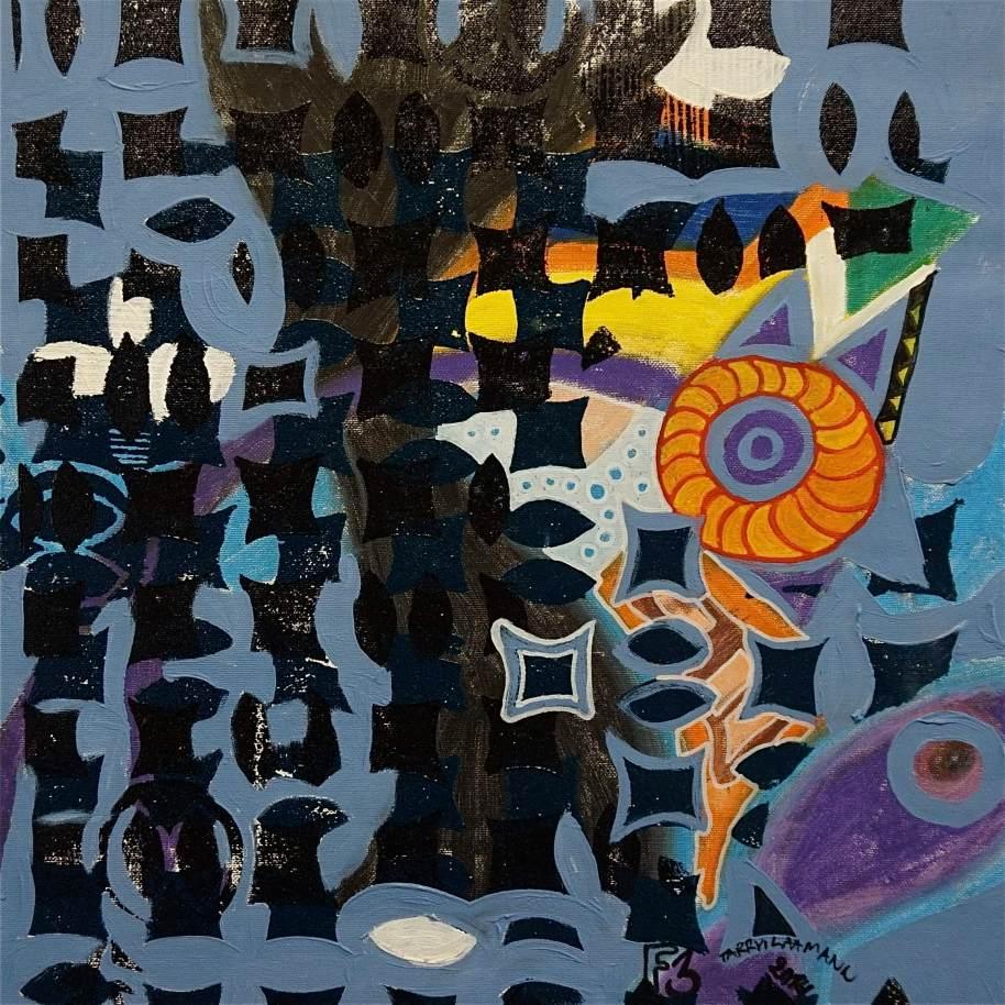 F3 (Tarrvi Laamann, 2014, woodcutprint, oil, canvas, 44x44cm)