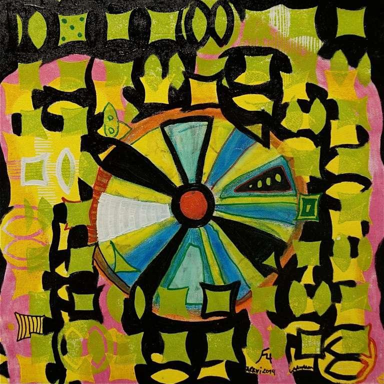 F4 (Tarrvi Laamann, 2014, woodcutprint, oil, canvas, 44x44cm)
