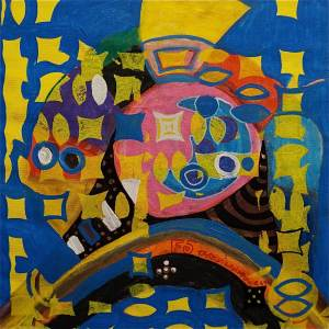 F5 (Tarrvi Laamann, 2014, woodcutprint, oil, canvas, 44x44cm)